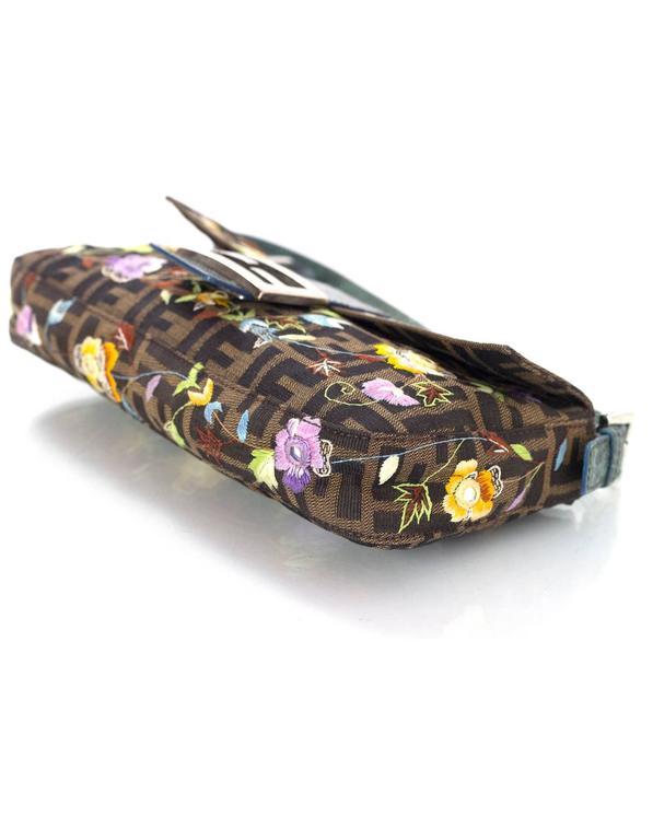 Fendi Zucca Floral Embroidered Baguette Bag 1