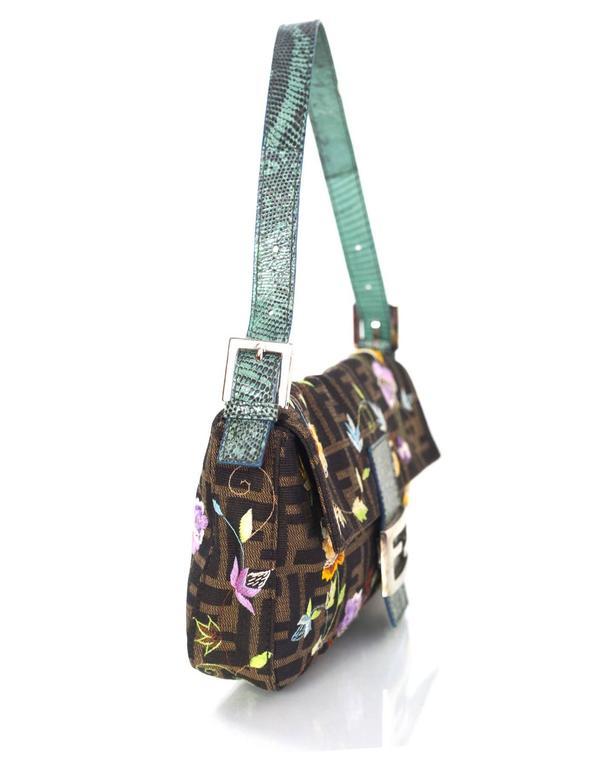 Black Fendi Zucca Floral Embroidered Baguette Bag