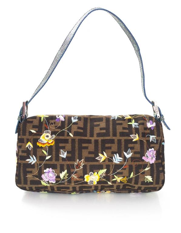 Fendi Zucca Floral Embroidered Baguette Bag In Excellent Condition In New York, NY