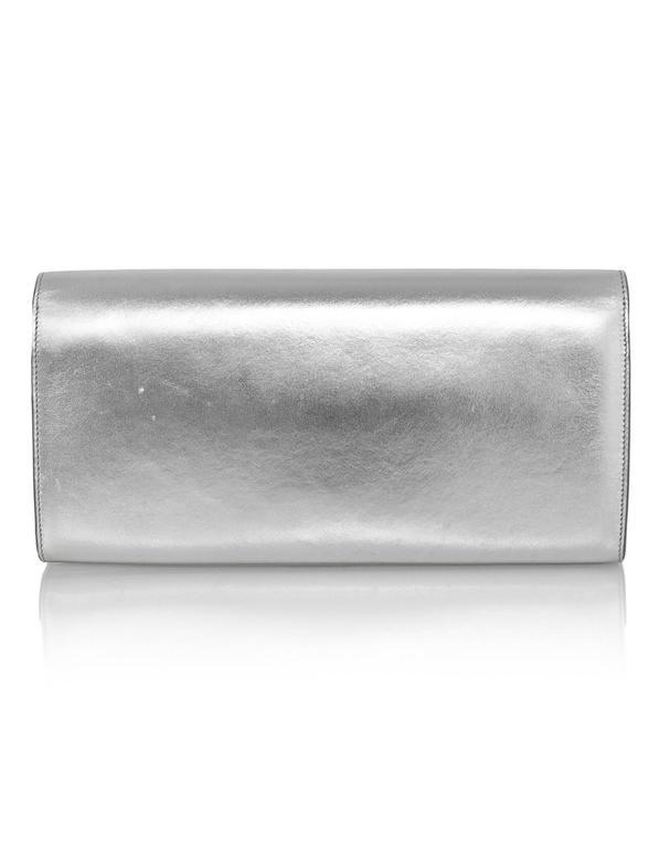 Saint Laurent Silver Leather Cassandre Monogram Clutch Bag 4