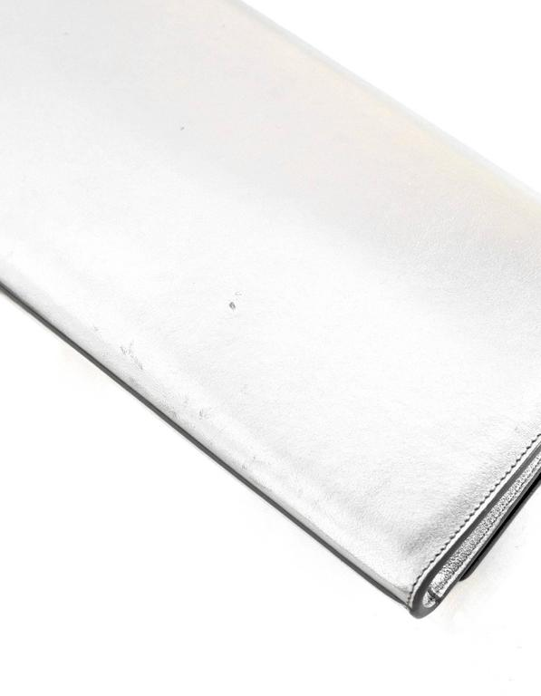 Saint Laurent Silver Leather Cassandre Monogram Clutch Bag 7