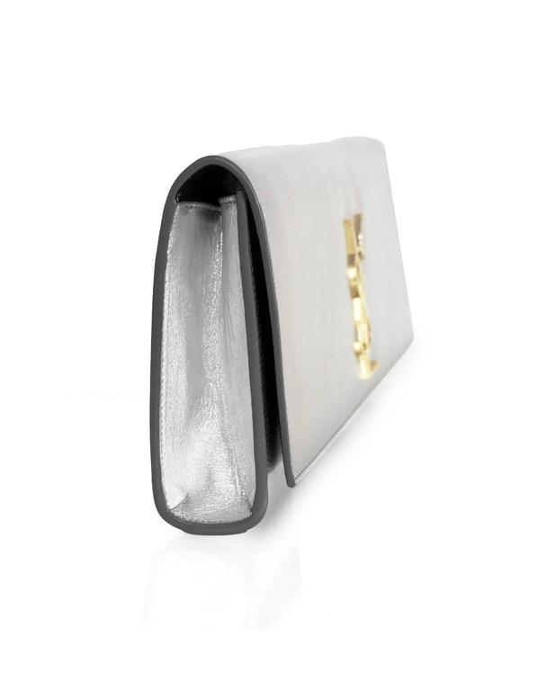 Saint Laurent Silver Leather Cassandre Monogram Clutch Bag 3
