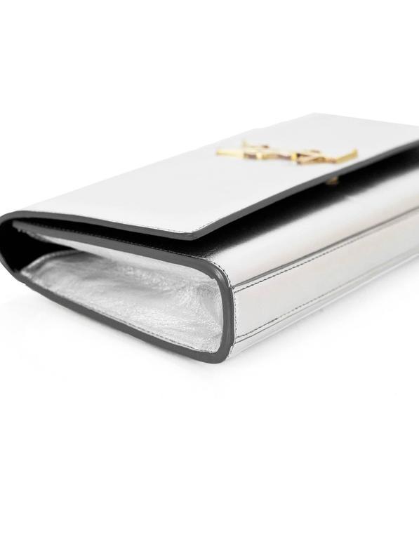 Saint Laurent Silver Leather Cassandre Monogram Clutch Bag 5