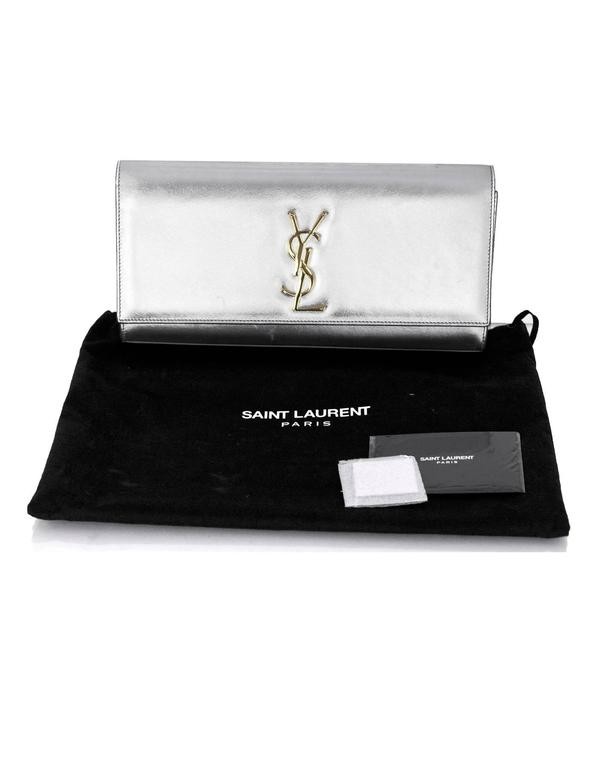 Saint Laurent Silver Leather Cassandre Monogram Clutch Bag 10