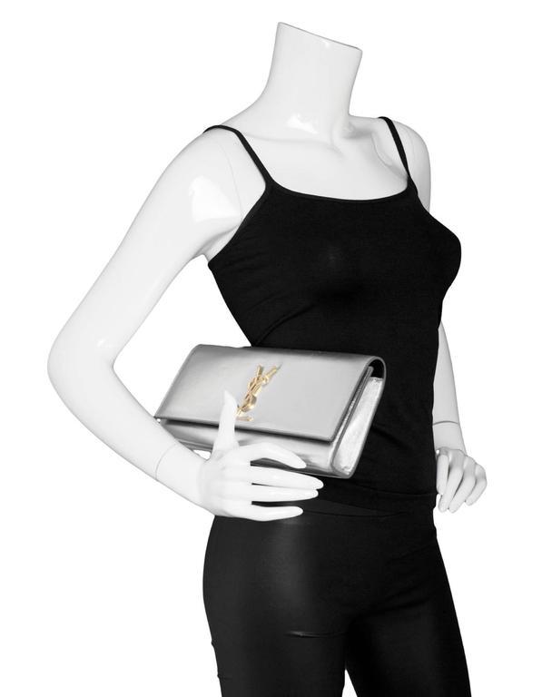 Saint Laurent Silver Leather Cassandre Monogram Clutch Bag 2