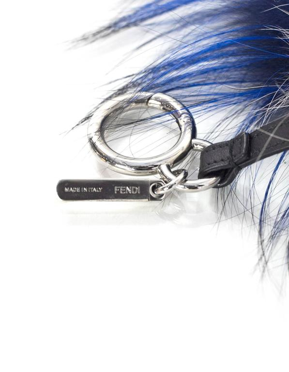 2a3bd7195513 Fendi Blue and White Mink and Fox Fur Bag Bug Charm w  Crystal Eyes ...