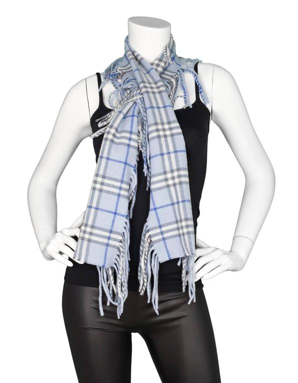 Burberry Blue Cashmere Nova Check Happy Scarf 5