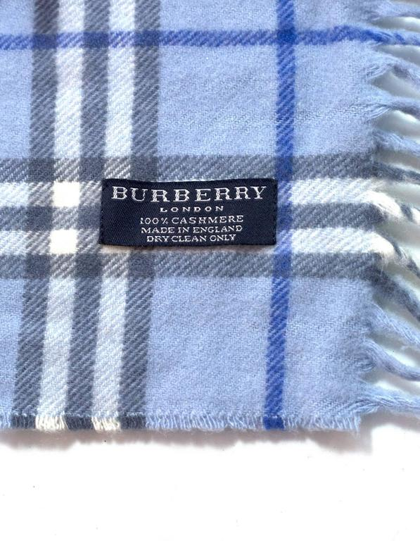 Burberry Blue Cashmere Nova Check Happy Scarf 4