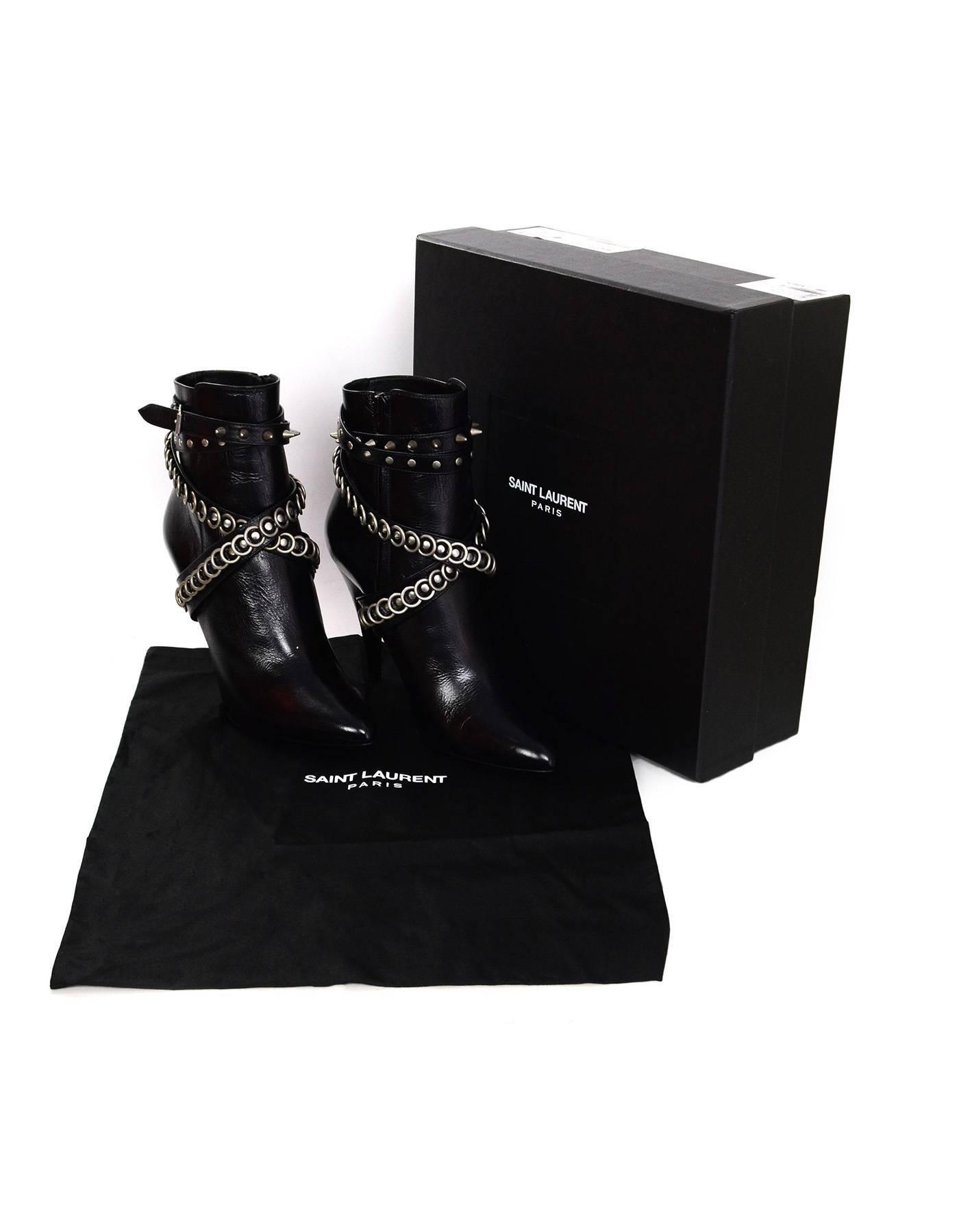 68e8cc12dbc Saint Laurent Black Leather Multi-trap Studded Fetish 105 Booties sz 39 For  Sale at 1stdibs