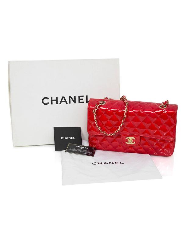 "Chanel Collector's Mobile Art Show Signed Red Patent 10"" Classic Double Flap Bag 9"