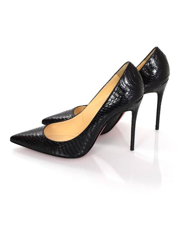 87a485d046f0 Christian Louboutin Black Snakeskin Decollete 554 100 Pumps Sz 38.5 with Box  In Excellent Condition For