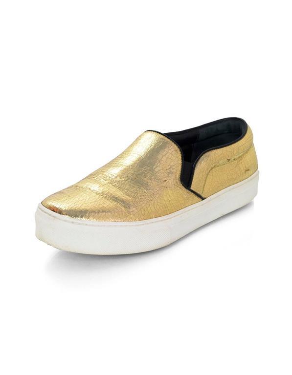 Distressed On Rt810 Leather Sz Gold Sneakers Celine Slip 5 38 kiPZOwXTu