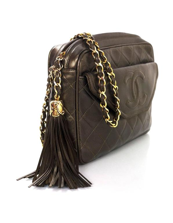 40a51dcc9adc Black Chanel Vintage Green Metallic Lambskin Leather Quilted CC Camera Bag  w/ Tassel For Sale