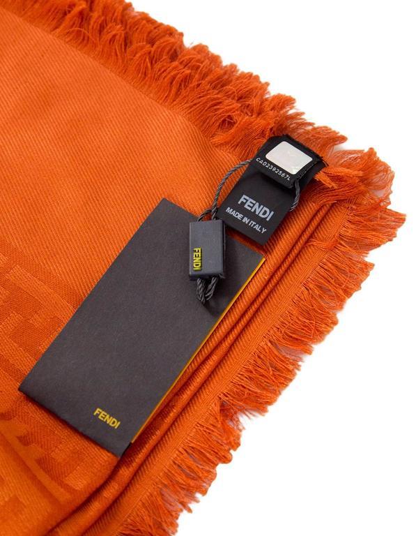 Fendi Casa Orange Zucca Monogram Throw Shawl NWT rt. $995 For Sale 2