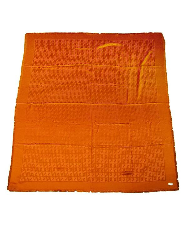 Fendi Casa Orange Zucca Monogram Throw Shawl NWT rt. $995 In Excellent Condition For Sale In New York, NY