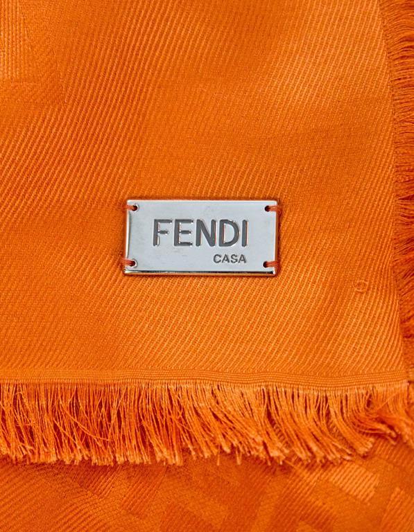 Fendi Casa Orange Zucca Monogram Throw Shawl NWT rt. $995 For Sale 1