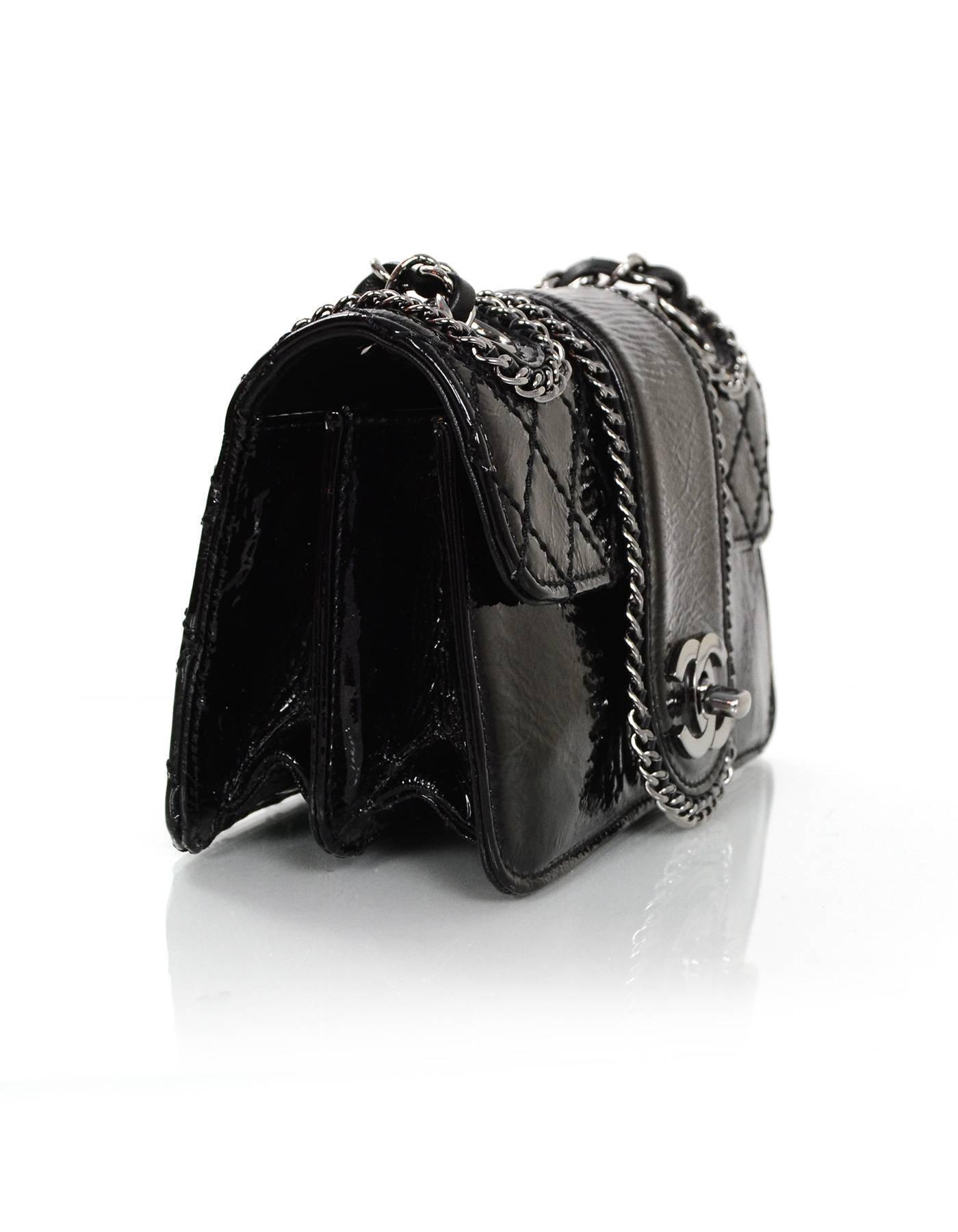 aaa74b24b94a59 Chanel Black Patent Mini Madison Flap Bag For Sale at 1stdibs