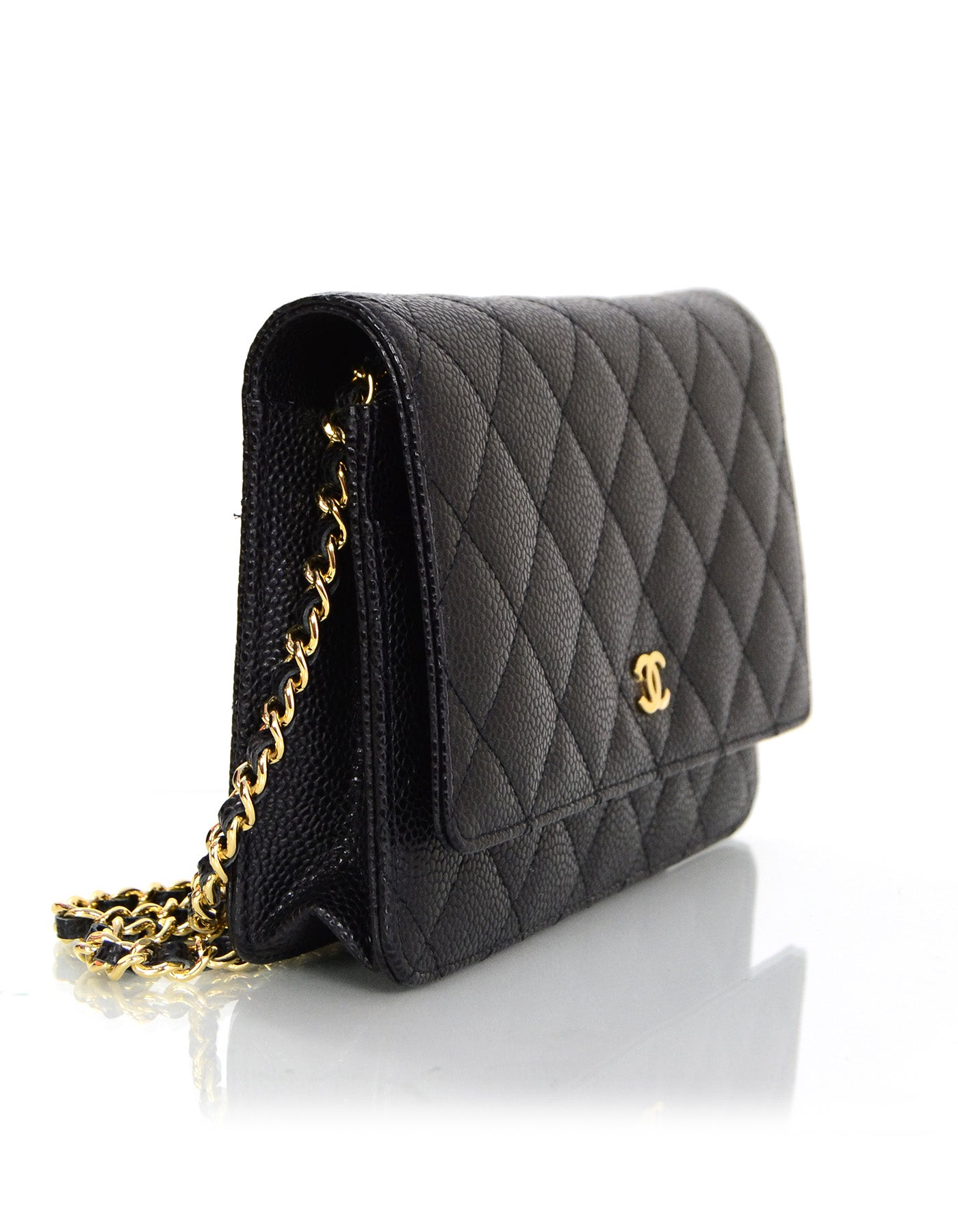 96ba5b8c1709 Chanel Black Caviar Leather Wallet On Chain WOC Crossbody Bag with Box For  Sale at 1stdibs