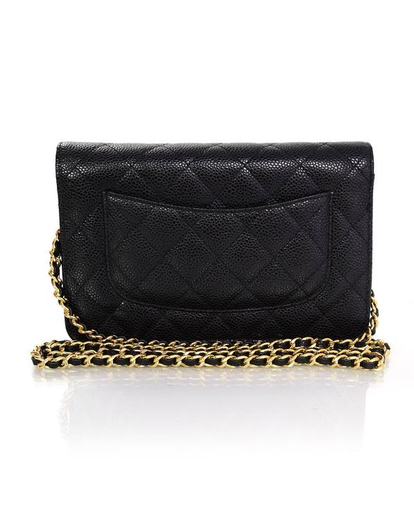 Chanel Black Caviar Leather Wallet On Chain WOC Crossbody Bag with Box 4