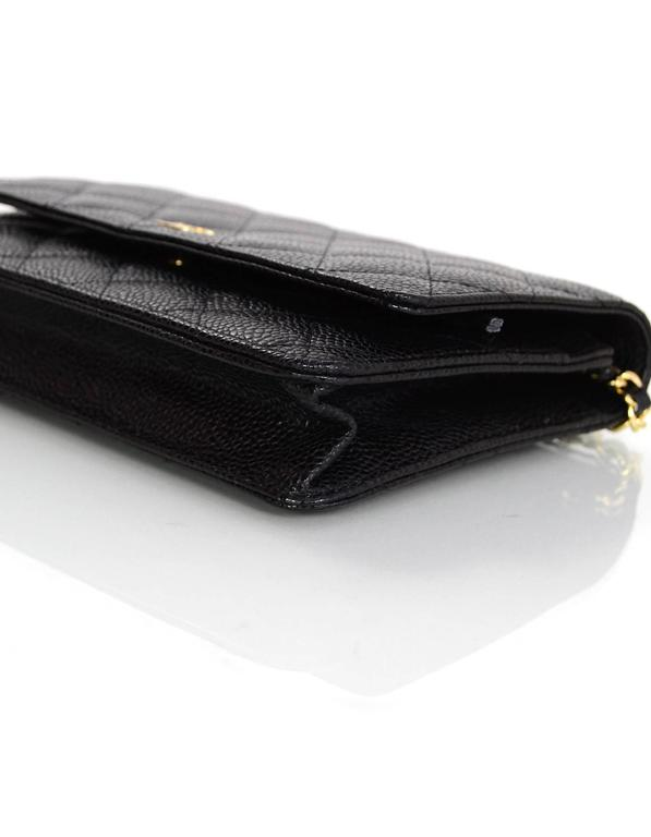 Chanel Black Caviar Leather Wallet On Chain WOC Crossbody Bag with Box 6