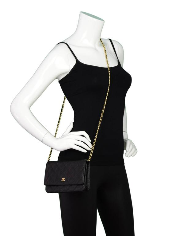Chanel Black Caviar Leather Wallet On Chain WOC Crossbody Bag with Box 2
