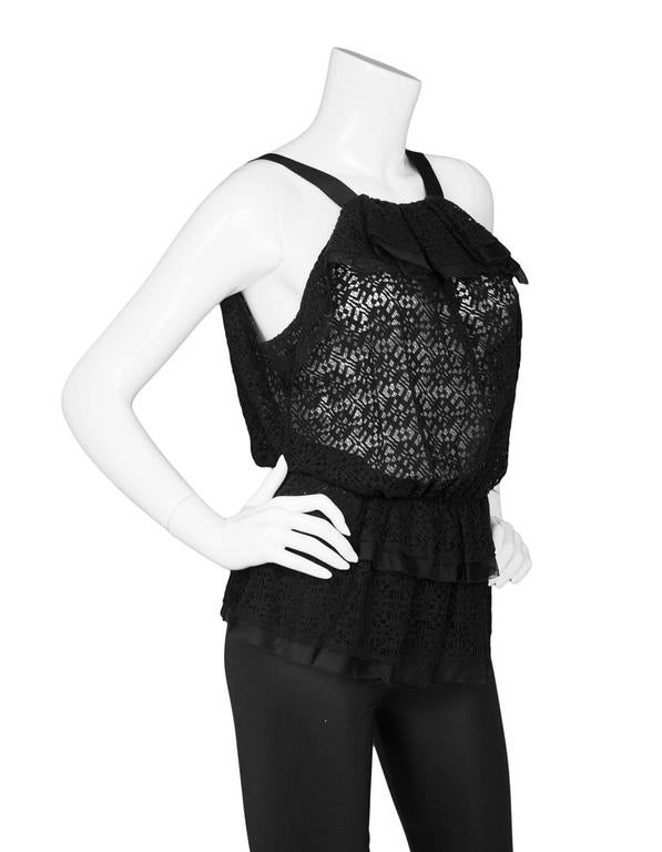 Oscar De La Renta Prefall '18 Black Backless Ruffle Peplum Top sz S In Excellent Condition For Sale In New York, NY