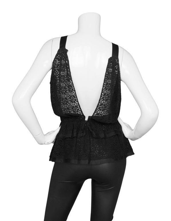 Women's Oscar De La Renta Prefall '18 Black Backless Ruffle Peplum Top sz S For Sale