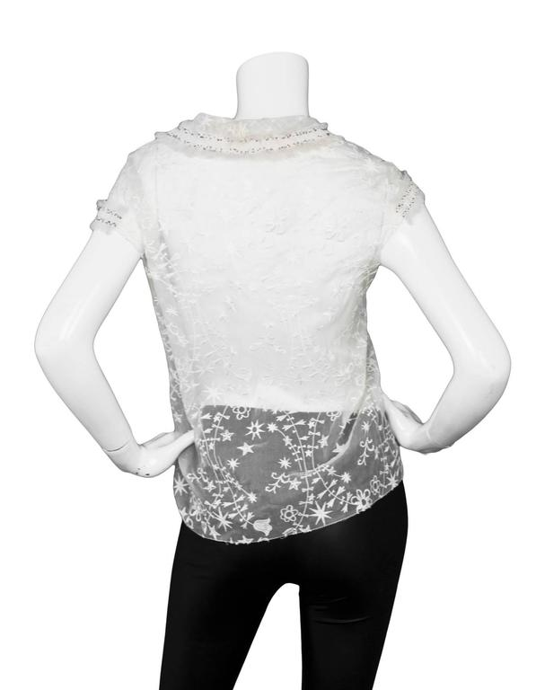 Women's Nina Ricci White Embroidered Silk Cap Sleeve Top sz US4 For Sale