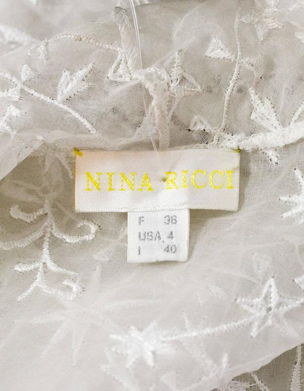 Nina Ricci White Embroidered Silk Cap Sleeve Top sz US4 For Sale 3