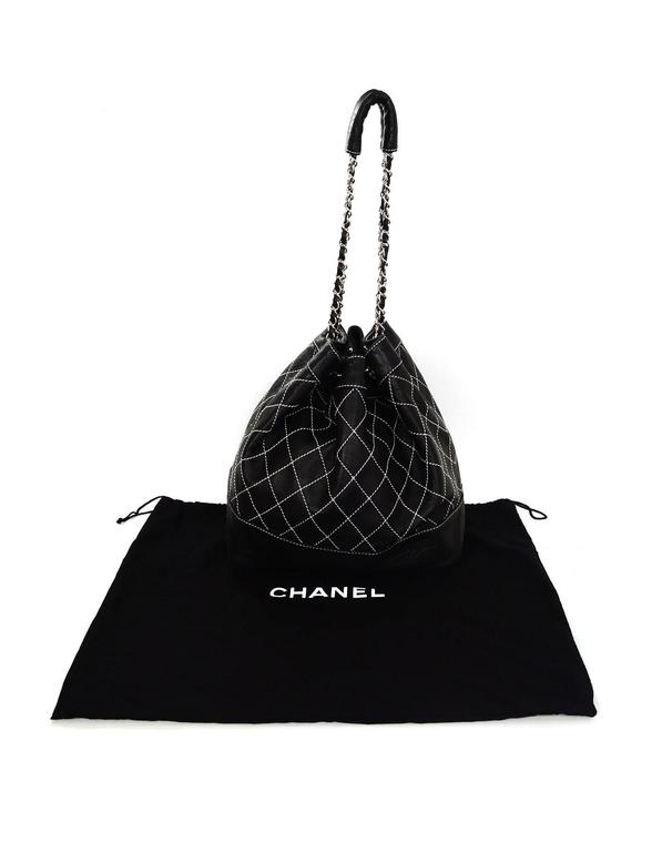 Chanel Black Leather Contrast Quilted Surpique Bucket Bag 10