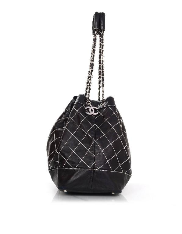 Chanel Black Leather Contrast Quilted Surpique Bucket Bag 3