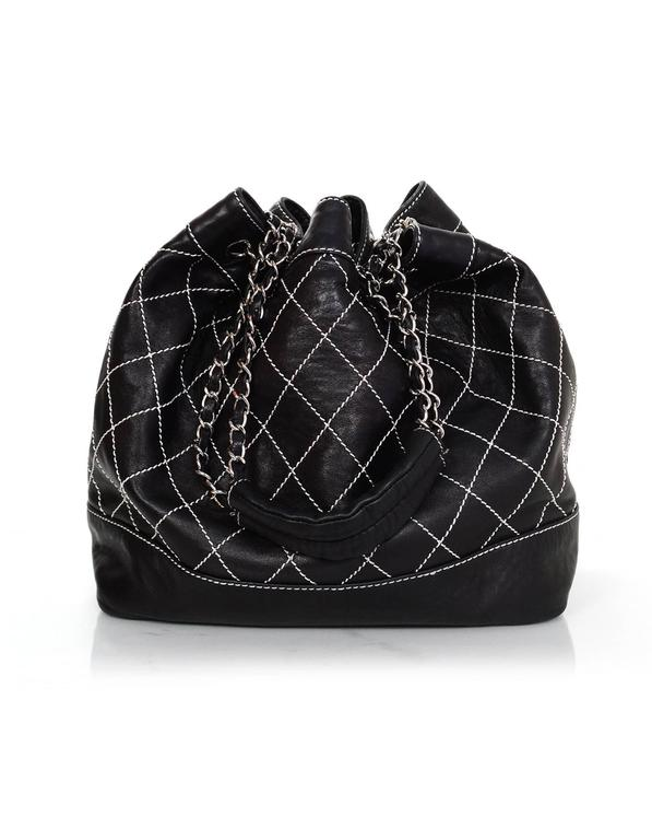 Chanel Black Leather Contrast Quilted Surpique Bucket Bag 4