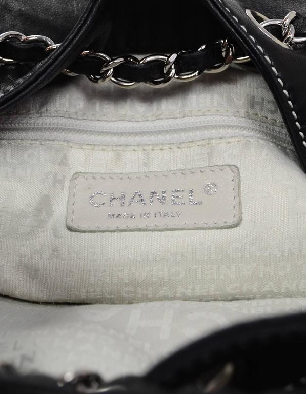 Chanel Black Leather Contrast Quilted Surpique Bucket Bag 8