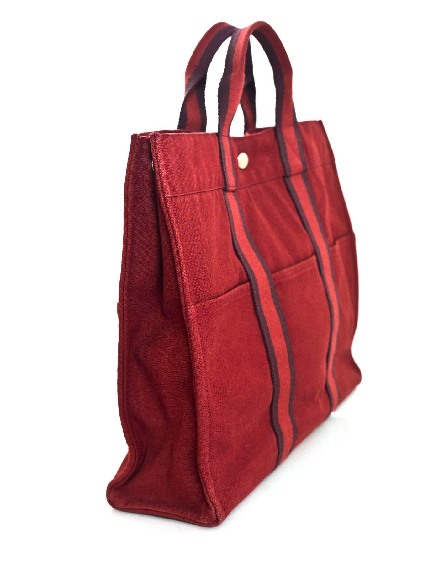 af63c43ef0ff Hermes Brick Red Canvas Fourre-Tout GM Tote Bag For Sale at 1stdibs