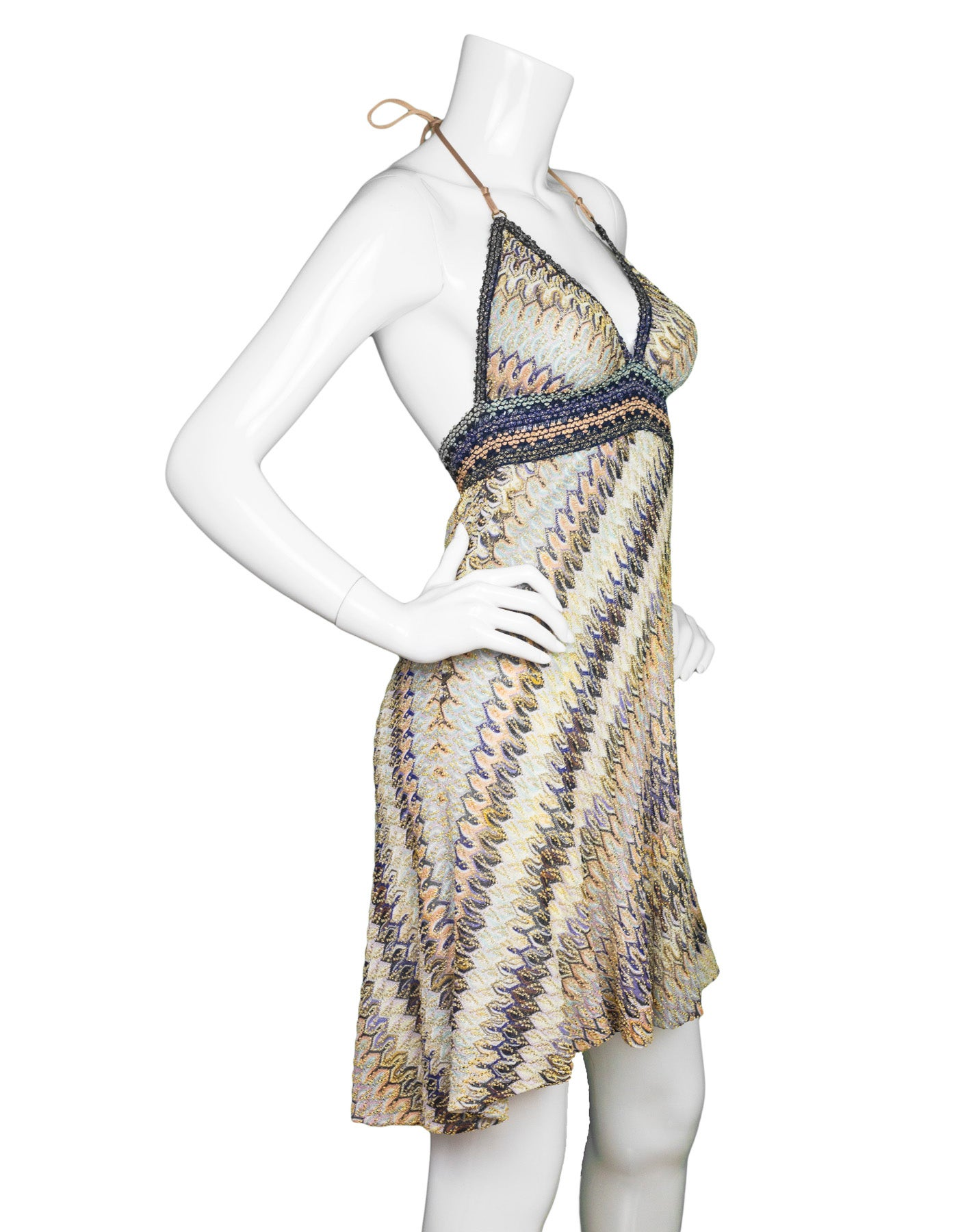 23be4565da66 Missoni Mare Multi-Colored Knit Halter Dress sz S For Sale at 1stdibs