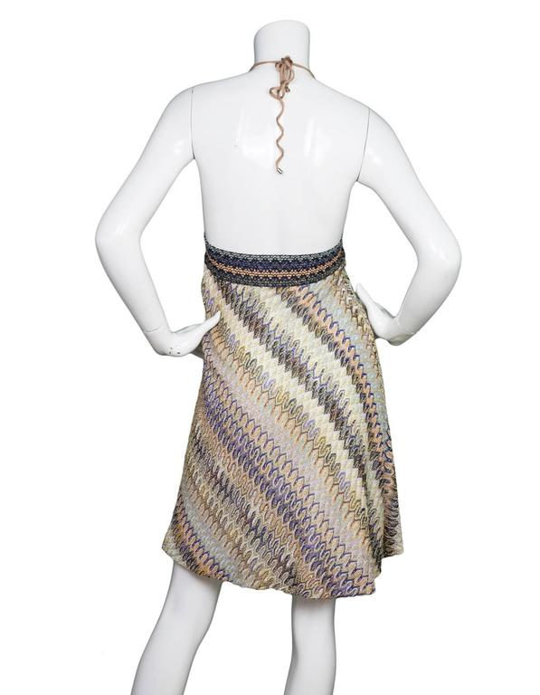bfd9b57bf685 Missoni Mare Multi-Colored Knit Halter Dress sz S In Excellent Condition  For Sale In