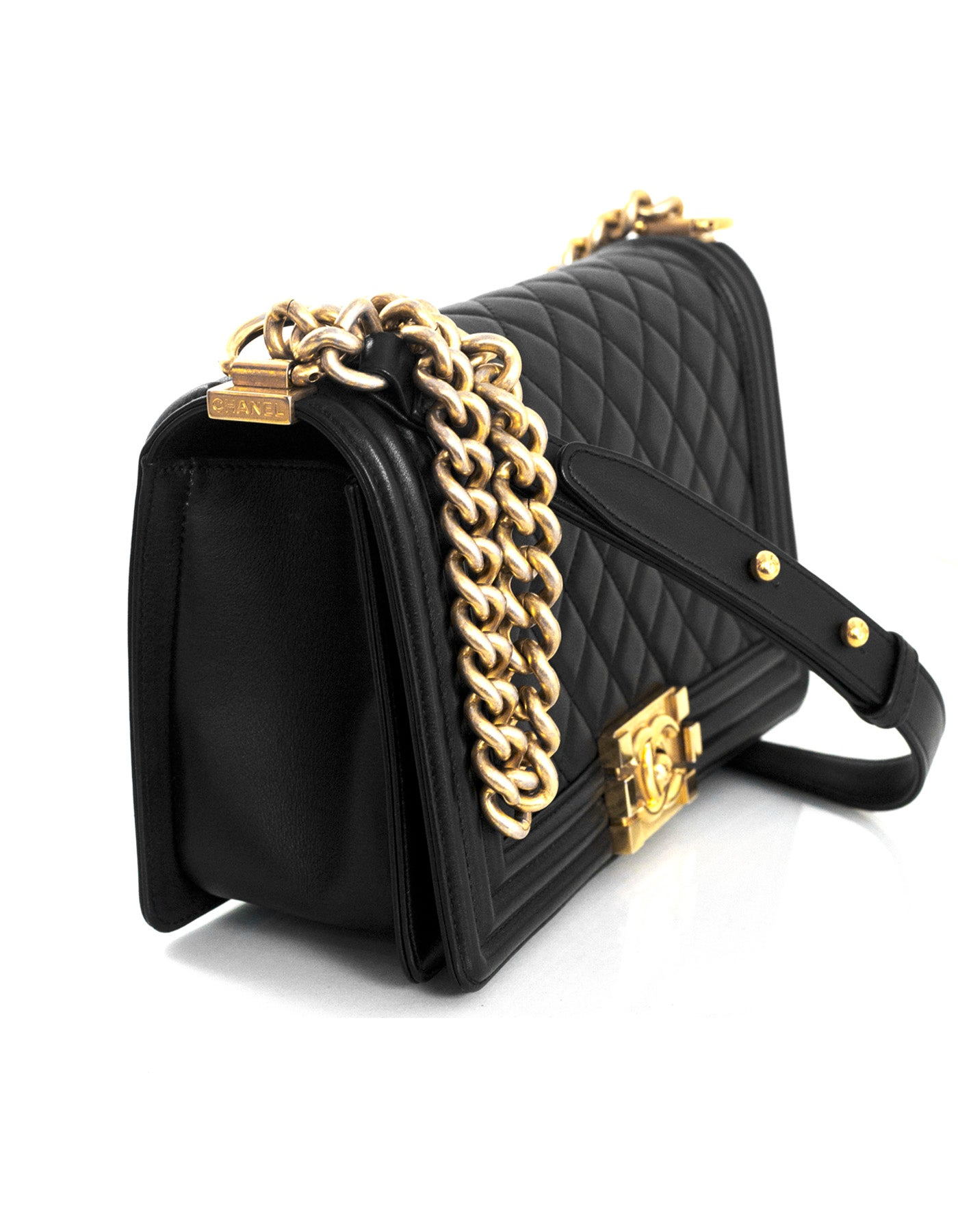ac74b07d82e4 Chanel Black Lambskin Leather Old Medium Boy Bag with GHW For Sale at  1stdibs