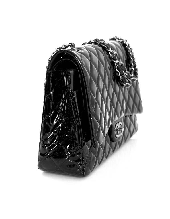 Chanel Black Quilted Patent Leather Double Flap Classic