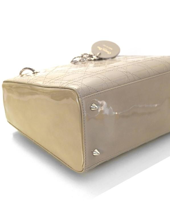 8dc2410f2d4 Christian Dior Beige Patent Leather Medium Lady Dior Bag w/ Strap For Sale 1