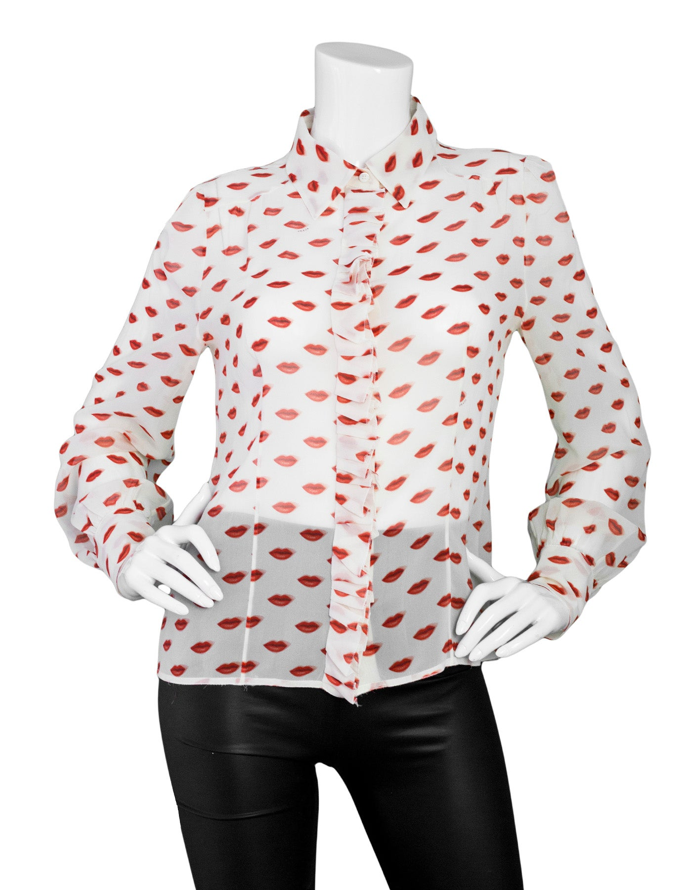 2b6586dd303564 Prada Sheer Ivory Lips Printed Silk Blouse sz IT46 For Sale at 1stdibs