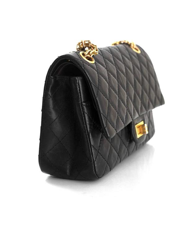 8af868ec72adbd Chanel Black Calfskin Leather 2.55 Reissue 225 Double Flap Classic Bag In  Excellent Condition For Sale