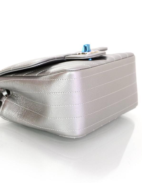 a46234fa157 Women s Chanel NEW 2016 Silver Caviar Leather Chevron Square Mini Flap Bag  w  Receipt For