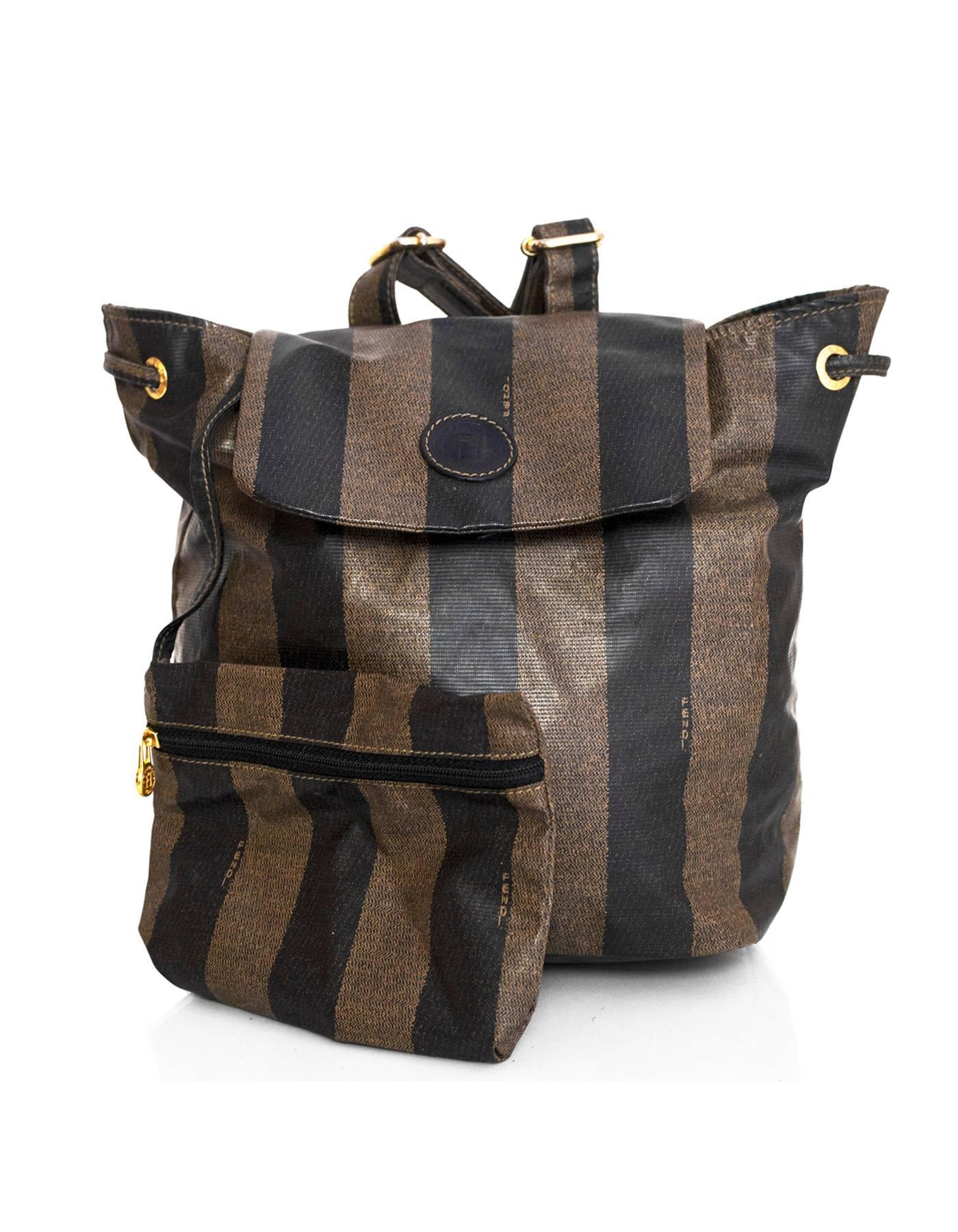 0852088fae9c Fendi Vintage Black and Brown Pequin Stripe Mini Backpack Bag For Sale at  1stdibs