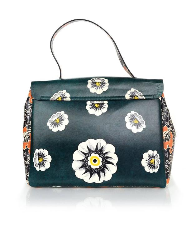 Valentino 2015 Multicolor Floral Print Mime Top Handle Bag rt. $3,645 2
