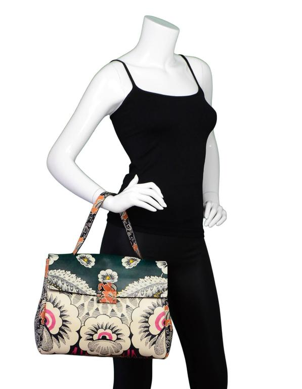 Valentino 2015 Multicolor Floral Print Mime Top Handle Bag rt. $3,645 9