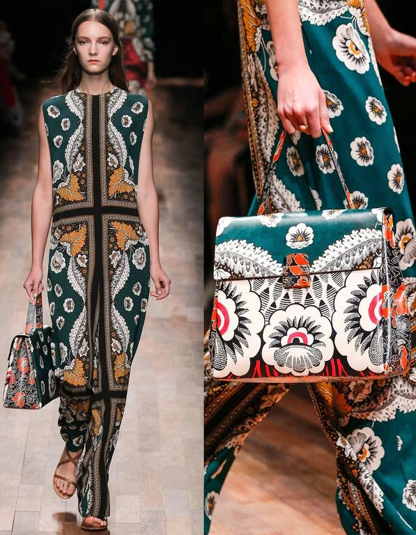 Valentino 2015 Multicolor Floral Print Mime Top Handle Bag rt. $3,645 10