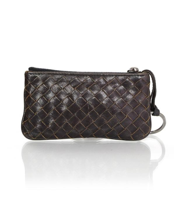 Bottega Veneta Brown Intrecciato Woven Leather Card Case/Key Holder Features key ring that extends from inside of case  Made In: Italy Year of Production: 2011 Color: Brown Hardware: Bronze Materials: Leather Lining: Brown canvas Closure/Opening: