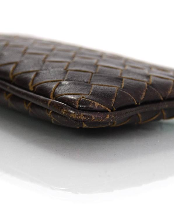 Bottega Veneta Brown Intrecciato Woven Leather Card Case/Key Holder In Excellent Condition For Sale In New York, NY