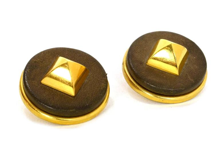 Hermes Gold & Leather Medor Clip On Earrings In Excellent Condition For Sale In New York, NY