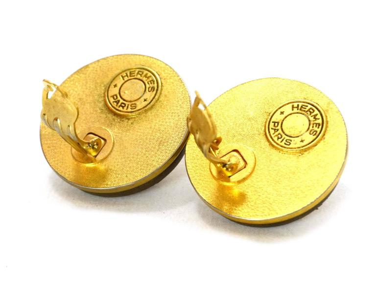 Women's Hermes Gold & Leather Medor Clip On Earrings For Sale
